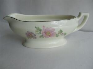Vintage Porcelain Creamer Pitcher Gravy Boat Pink Lavender Flower Silver Rim 8oz