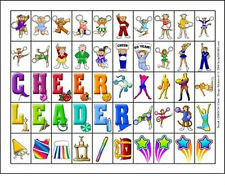 50 Cheerleading Cheer Leader Stickers - GO FIGHT WIN! GREAT FOR SCRAPBOOKS