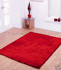 LARGE THICK BRIGHT RED SOFT SHAGGY SPARKLE RUG 160x220c