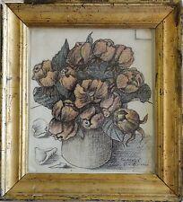 Sartorius firmado-acuarela/multicolor plumilla 2000: rosas rosadas en la maceta