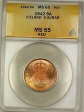 1942 Iceland 5A Five Aurar Copper ANACS MS-65 Red GEM BU (Better Coin) (F)