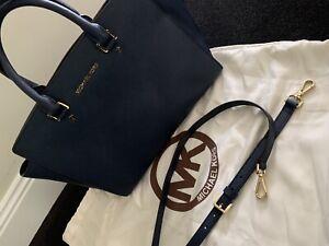 Authentic Michael Kors Selma Medium Satchel Handbag - Navy