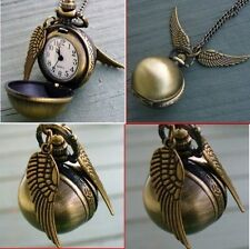 Movie Harry Potter Snitch Watch Pendant Necklace Steampunk Quidditch Wings Clock
