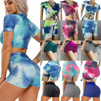 Damen Anti Cellulite Yoga Short Tops Push Up Tiktok Leggings Tie Dye Shirts Gym