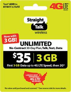 Straight Talk Refill Card 30 Day $35 Prepaid Unlimited Service Plan Phone