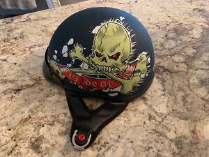 Skull Design Motorcycle Half Helmet DOT Approved Size XL