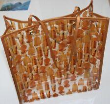 0adc04036d63 Vintage DIOR Handbag Transparent Plastic Leather Straps Orange Brown Tote