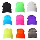 Bright Plain Colour Casual Beanie Hat Winter Warm Woolly Hat
