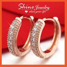 24K ROSE GOLD GF HUGGIES HOOP SLEEPER SOLID WOMENS LAB DIAMONDS WEDDING EARRINGS