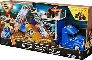Monster Jam Official 2in1 Transforming Hauler Playset with Exclusive 1:64 Scale