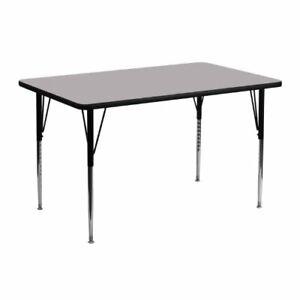 Flash Furniture 24''W x 48''L Rectangular Grey Thermal Laminate Activity Tabl...