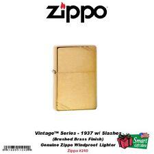 Zippo Vintage Series 1937 Lighter w/ Slashes Brushed Brass #240
