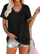 New listing iChunhua T Shirts for Women Plain Loose Fit Short Sleeve Summer Tops Black Small