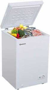 MOOSOO Chest Freezer, 3.5 Cubic Feet with Removable Storage Basket Deep Freezer