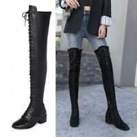 Women's Suede Lace Up Square Toe Over The Knee Thigh High Low Heel Knight Boots