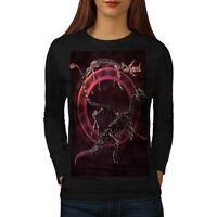 Wellcoda Dinosaur Skeleton Womens Long Sleeve T-shirt, Angry Casual Design