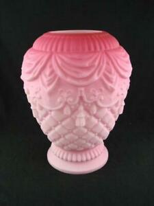 FABULOUS ANTIQUE  GRADUATED PINK OIL LAMP HEATER SHADE, SATIN MOULDED GLASS