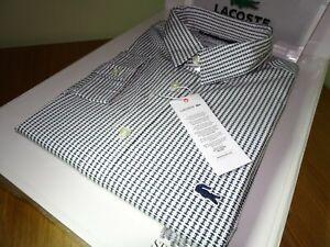 Lacoste Herren Langarm Slim Fit Popeline Baumwolle Shirt FR 46 2xl £ 100