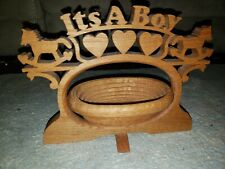 Its A Boy Hand Carved Wooden Decoration Decor Baby Shower