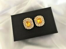 CLIP ON Diamante Stud Earrings Square Yellow Cluster Design 2 cms Drop very SPAR