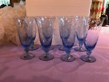 Set Of 7 Bohemia Crystal Blue Flutes New W Stickers