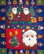 Santa Christmas Trees Ornaments Gifts Quilt Top Fabric Panel or Wall Art Banner