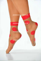 Nude with Big Red Spots Sheer Ankle Socks Womens Anklets Pop Socks High Top