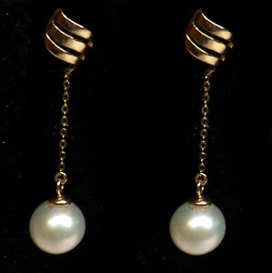 18K Yellow Gold Long Dangling Earrings with 7-8mm Round Pearl