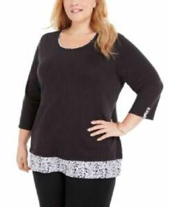 Karen Scott Women's Plus Size Printed Hem 3/4 Sleeve Top Black