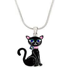 "Cat Charm Pendant Enameled Fashionable Necklace - 17"" Chain - 2 Colors"