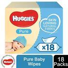 Huggies Pure Baby Wipes, 18 Packs (1008 Wipes Total)