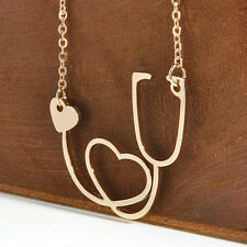 Medical Doctor Nurse ER Stethoscope Heart Silver Charm Pendant Chain Necklace