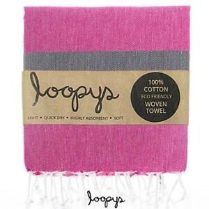 Premium Pink & Grey Loopys Cotton Turkish Beach Pool Bath Towel Peshtemal Fouta