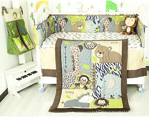 7PCS Boy Baby Bedding Set Animal World Nursery Quilt Bumper Sheet Crib Skirt 07