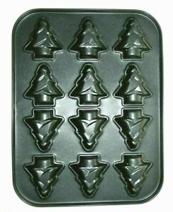Eddingtons Christmas Tree Shaped 12 Cup Muffin Pan Non Stick Cake Baking Tray