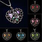 Eternal Love Heart Teardrop Rhinestone Elements Crystal Pendant Sweater Necklace