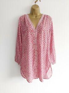 ANOKHI Size 10 Pink Print Tunic Blouse Long Sleeve Button Down 100% Cotton