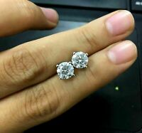 5.00Ct Round Cut  Moissanite  Solitaire Stud Earrings 14K White Gold Finish