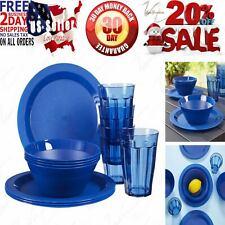 Cambridge Plastic Plate, Bowl and Tumbler Dinnerware | 12-piece set Blue