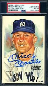 Mickey Mantle PSA DNA Coa Hand Signed Perez Steele Postcard Autograph
