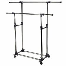 Clothing Garment Rack with Lockable Wheels Portable Clothes Rack Double Rail