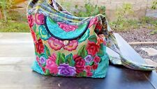 Guatemalan huipil hobo bag turquoise teal & multicolor flowers embroidered bag