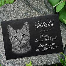 """TIERGRABSTEIN Grabstein Grabplatte Katzen Katze-007 â–ºLASER-Textgravurâ—"""" 30 x 20cm"""