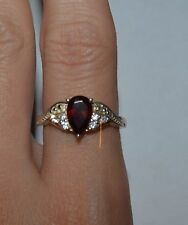 STERLING SILVER AND GARNET TEAR DROP RING SIZE 8