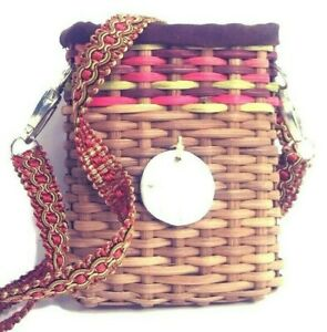 "Crossbody Phone Case Bag 5"" Woven Rattan Ornate Strap Padded Sand Dollar Beach"