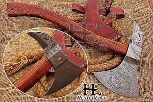HUNTEX New Custom Hand-Forged Damascus 480 mm Long Rosewood Battle Viking Axe