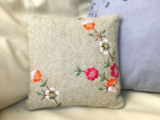 "AVIVA STANOFF NEW YORK Flower Embroidered Silver Glass Bead 10"" Pillow Cover"