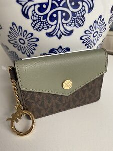 🇩🇪Michael Kors Kala Small Signature Leather Flap Key Ring Card Case 35F0GW9D1B