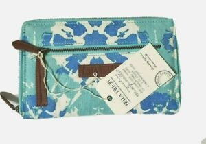 Bella Taylor NWT Wallet Signature Zip Blue Light Cream Fabric Compartments Coin