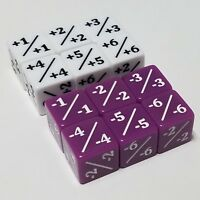 12x Counters White +1/+1 & Purple -1/-1 Dice for Magic: The Gathering CCG MTG